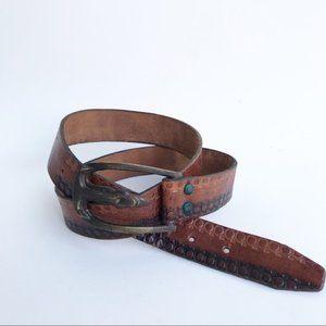 Vintage Leather Embossed Belt Heavy Metal Buckle